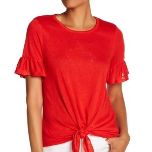 Tops - JUST IN 🔶️ (XL) Tomato Ruffle Tie Knot Tee